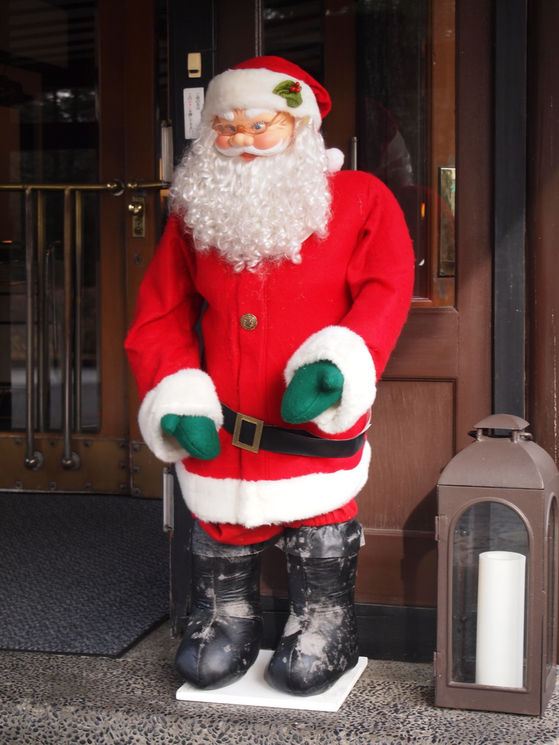 Santa Claus came to Manpei Hotel entrance on Dec 24, 2015.